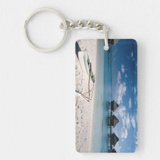 Bungalows from beach Motu Toopua Double-Sided Rectangular Acrylic Key Ring