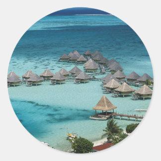 Bunglows of Beachcomber Hotel Classic Round Sticker