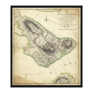 Bunker Hill Revolutionary War Map (June 17, 1775) Stretched Canvas Print