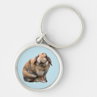 Bunnie rabbit lop-eared keychain, gift idea Silver-Colored round key ring