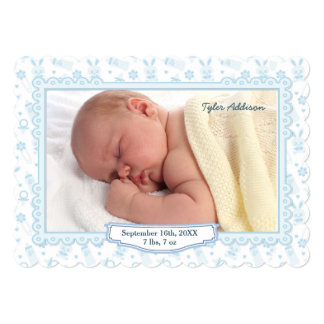 """Bunnies and Baby Bottles Photo Announcement - Blue 5"""" X 7"""" Invitation Card"""