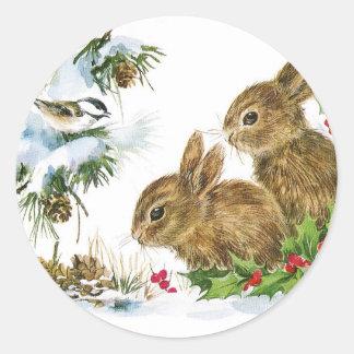 Bunnies and Bird Enjoy Snow Classic Round Sticker