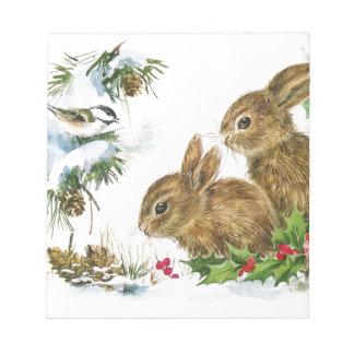 Bunnies and Bird Enjoy Snow Notepad