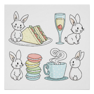 Bunnies at Afternoon Tea Poster