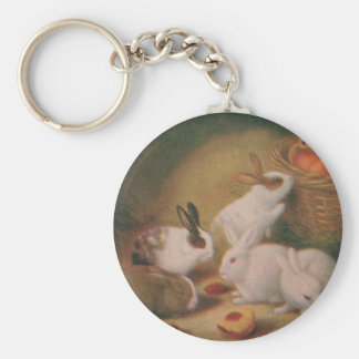 Bunnies Basic Round Button Key Ring
