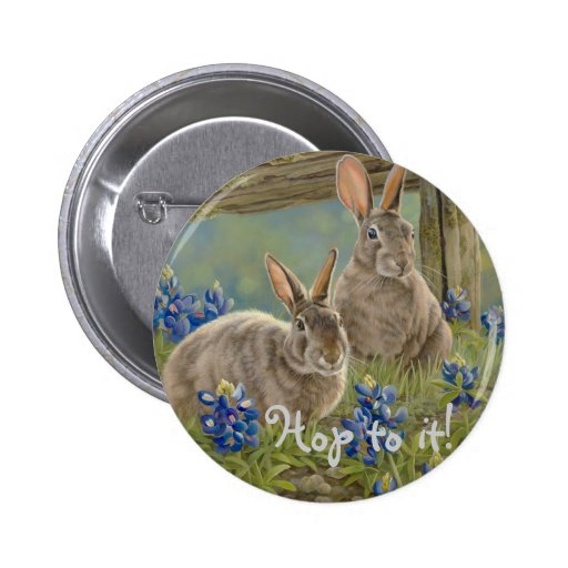 Bunnies & Bluebonnets Button