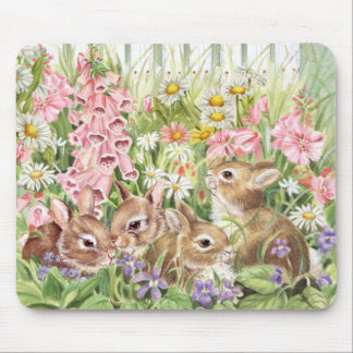 Bunnies in the Flowers Mouse Pad