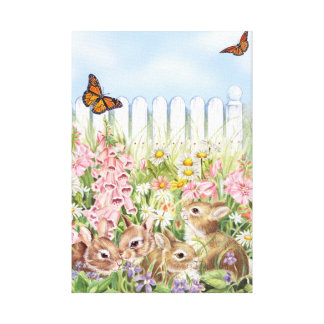 Bunnies in the Garden Canvas Print