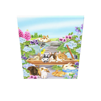 Bunnies in the Garden Canvas Print