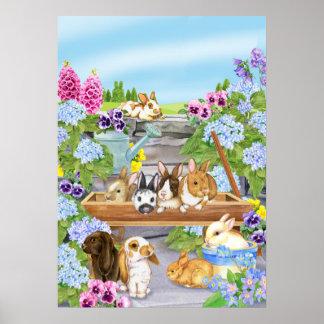Bunnies in the Garden Poster