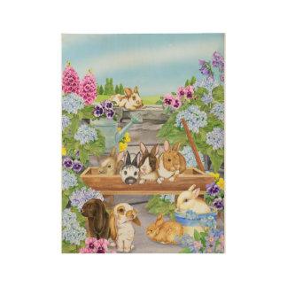 Bunnies in the Garden Wood Poster