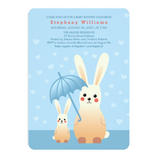 Bunnies Mommy With Baby Shower Invitation Blue