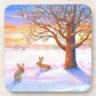 Bunnies Rabbits Winter Landscape Wildlife Art Beverage Coasters
