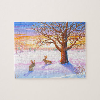 Bunnies Rabbits Winter Landscape Wildlife Art Puzzles