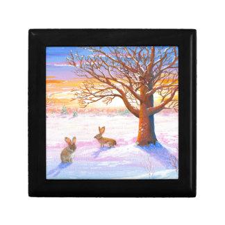 Bunnies Rabbits Winter Landscape Wildlife Art Small Square Gift Box