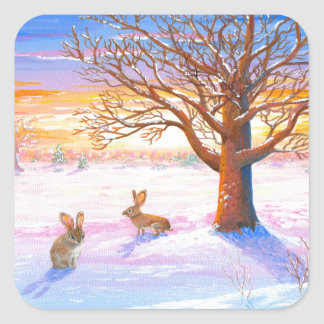 Bunnies Rabbits Winter Landscape Wildlife Art Square Sticker