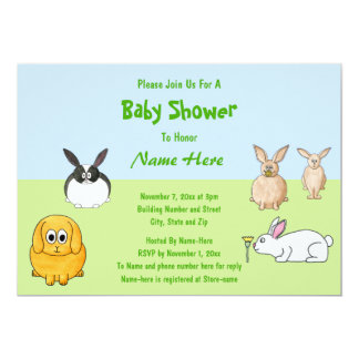 Bunnies Theme Baby Shower 13 Cm X 18 Cm Invitation Card