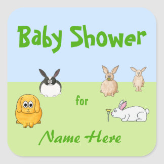Bunnies Theme Baby Shower Square Sticker