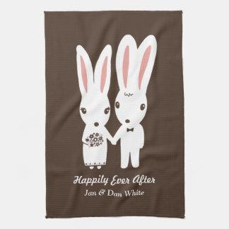 Bunnies Wedding Bride and Groom with Custom Text Tea Towel