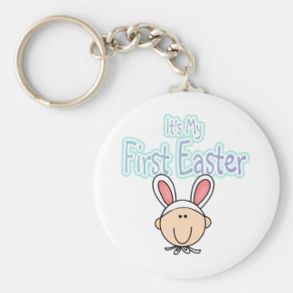 Bunny 1st Easter (boy) Tshirts and Gifts Basic Round Button Key Ring