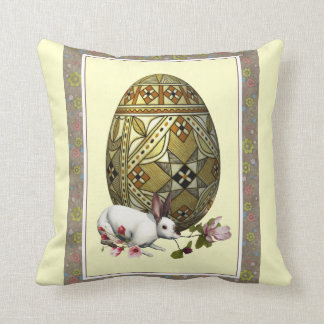 Bunny and Artistic Egg Decorative Pillow
