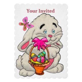 "Bunny and Basket CUSTOM 1ST Easter Egg Hunt 5"" X 7"" Invitation Card"