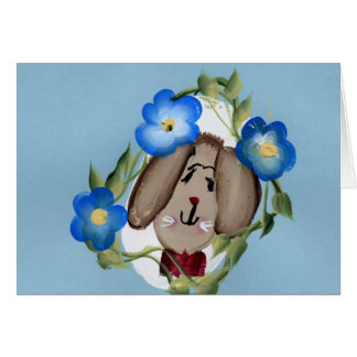 Bunny and blue flowers greeting card