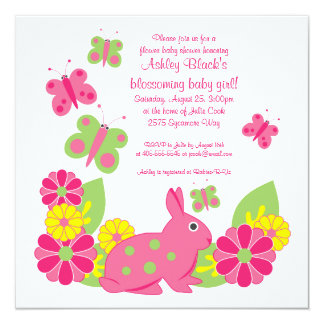 Bunny and Butterflies Baby Shower Invitation