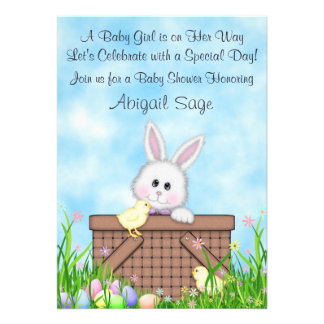Bunny and Easter Eggs Baby Shower Invite ~ Girls