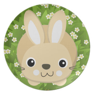 BUNNY  AND GARDEN WITH FLOWERS, KIDS EASTER PLATE