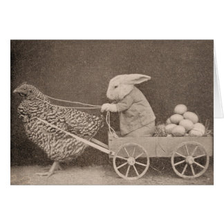 Bunny and Hen, Greeting Card