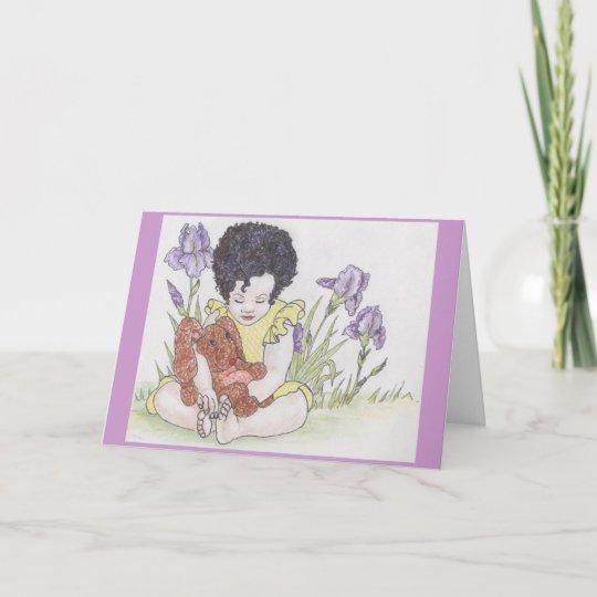 Bunny and irises christmas card