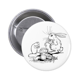 Bunny and Mouse Eat Veggies Pinback Button