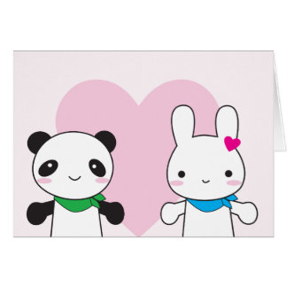 Bunny and Panda Kawaii Valentine Card