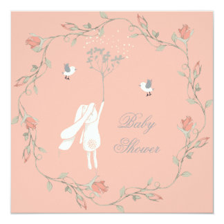 Bunny and Wreath Baby Shower 13 Cm X 13 Cm Square Invitation Card