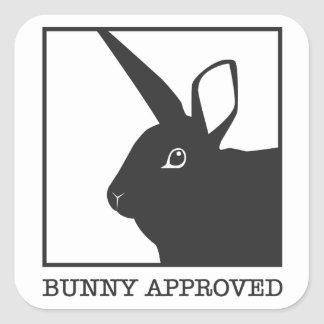 BUNNY APPROVED SQUARE STICKER