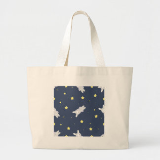 Bunny-astronaut in open space large tote bag