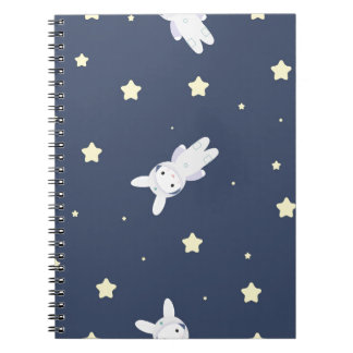 Bunny-astronaut in open space note book