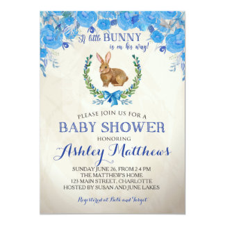 Bunny BABY SHOWER boy Beautiful Floral Invitation