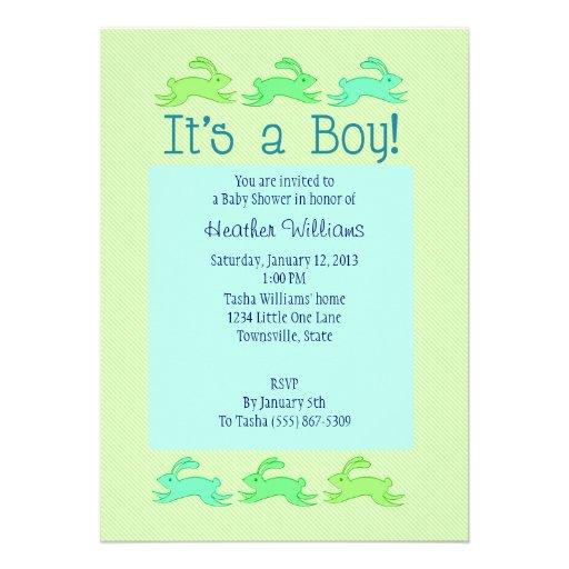 Bunny Baby Shower Invitations (Boy)