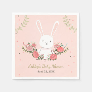Bunny Baby Shower Paper Napkin Woodland Pink Girl