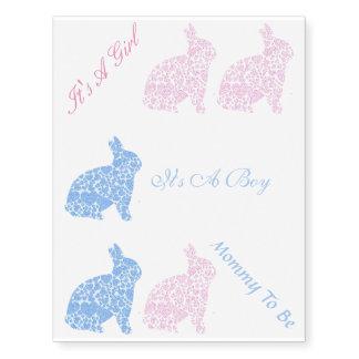 Bunny Baby Shower Temporary Tattoo Sheet