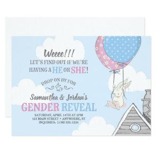 Bunny + Balloons Gender Reveal Invitation