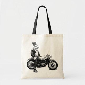 Bunny biker budget tote bag