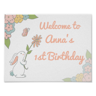 Bunny Birthday Welcome sign Poster
