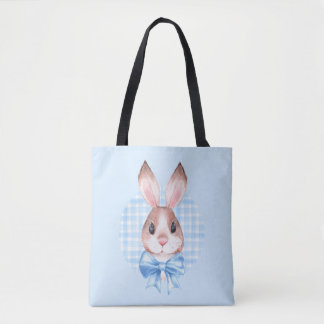 Bunny. Blue bow Tote Bag
