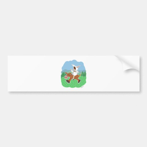 Bunny boy riding a horse bumper sticker