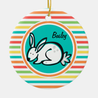 Bunny Bright Rainbow Stripes Christmas Tree Ornaments