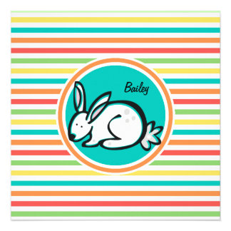Bunny Bright Rainbow Stripes Custom Announcements