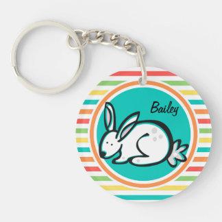 Bunny Bright Rainbow Stripes Acrylic Keychain
